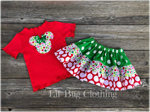Christmas Minnie Mouse Twirl Skirt & Tee