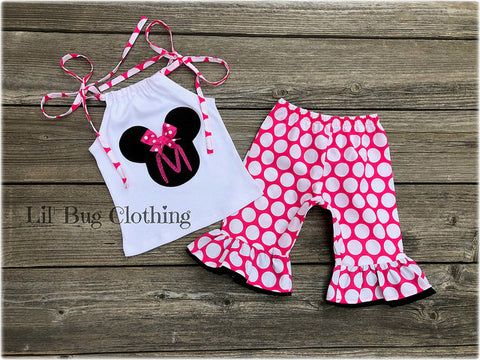 Minnie Mouse Personalized Capri & Halter Top Outfit