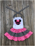 Minnie Mouse Personalized Black & Red Polka Dots Twirl Dress