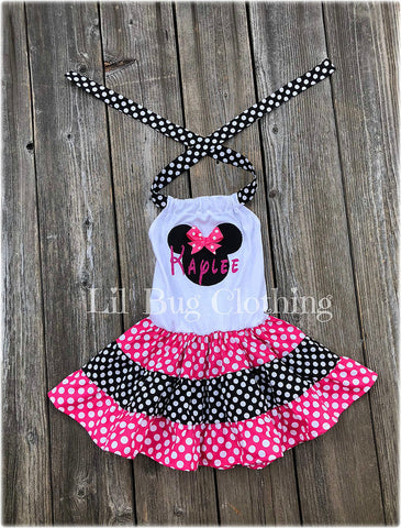 Copy of Minnie Mouse Personalized Black & Red Polka Dots Twirl Dress