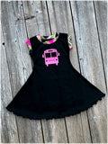 Back To School Lime & Hot Pink Bus Twirl Dress