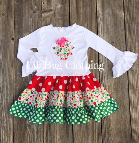 Christmas Tree Red & Green & Pink Twirl Dress
