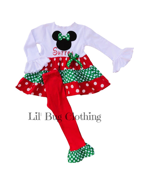 Christmas Minnie Mouse Twirl Top & Pant Outfit Red Green White