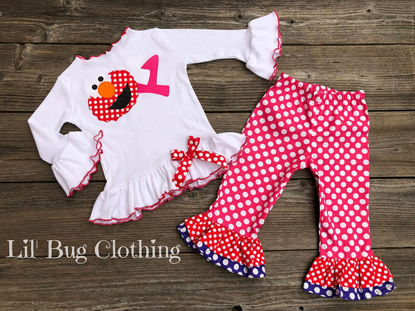 Hot Pink Purple & Red Polka Dot Elmo Birthday Pant & Tee Outfit