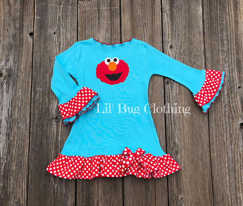 Red & Aqua Comfy Knit Elmo Sesame Street Dress