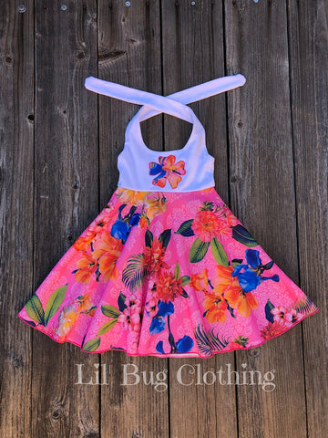 Pink Tropical Luau Halter Dress