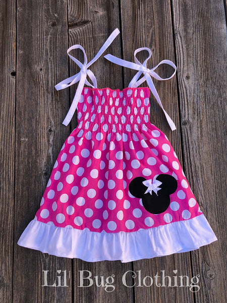 Minnie Mouse Hot Pink Smocked Dress