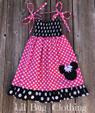 Hot Pink & Black Minnie Mouse Smocked Dress