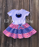 Cookie Monster Hot Pink & Blue Birthday Dress