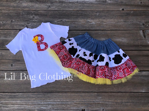 Western Wear Twirl Skirt & Personalized Tee