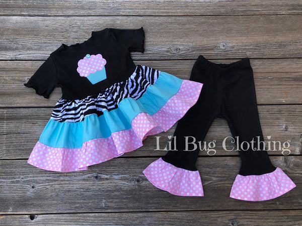 Teal & Bubble Gum Pink Cupcake Tiered  Birthday Top & Leggings