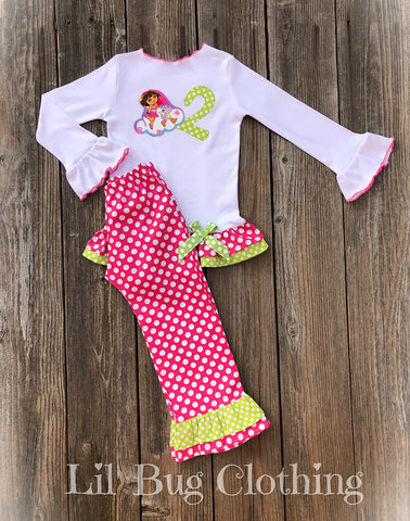 Dora The Explorer Hot Pink Dot Lime Birthday Outfit