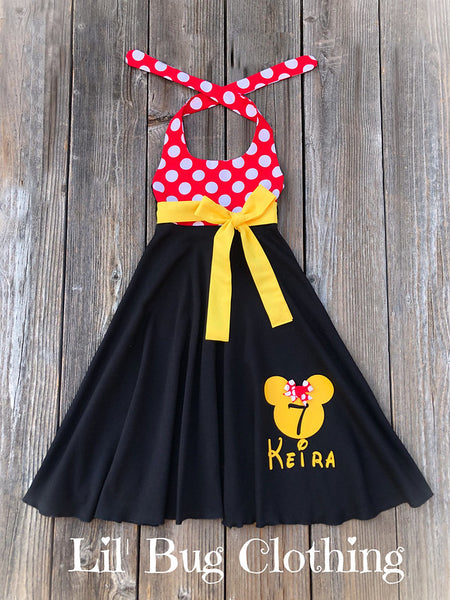 Minnie Mouse Personalized Birthday Girl Red & Yellow Twirl Dress