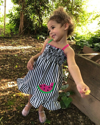 Black White Watermelon Stripe Smocked Dress