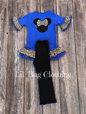 Blue & Leopard Print Minnie Mouse Outfit