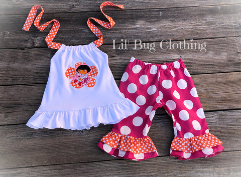 Birthday Dora Capri Halter Outfit Orange Pink Jumbo Dots