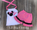 Hot Pink White Dot Minnie Mouse Short Set