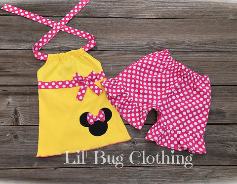 Pink & Yellow MInnie Mouse Ribbon Short & Halter