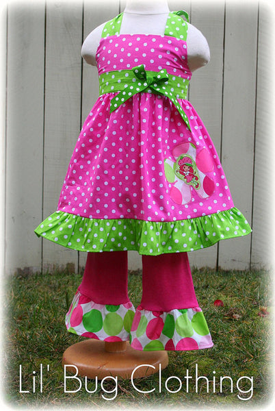Lime & Pink Polka Dot Strawberry Shortcake Jumper Top & Pant