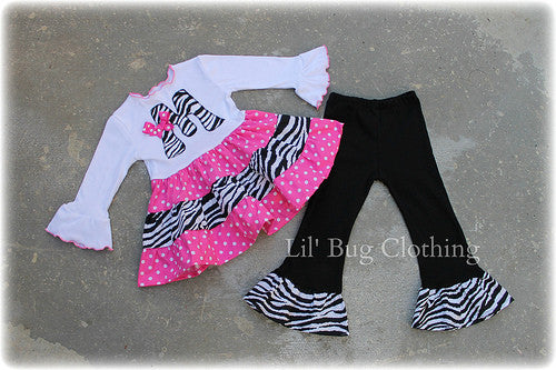Pink Polka Dot & Zebra Personalized Tiered Top & Pant