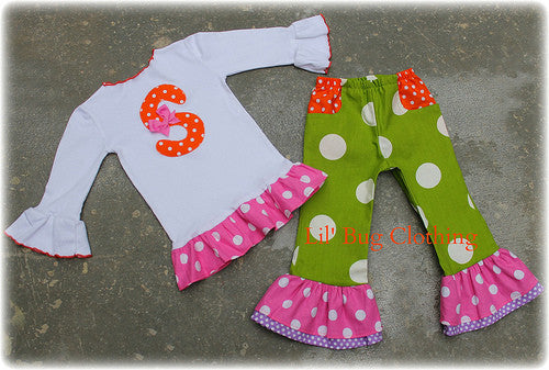 Lime Lavender & Orange Polka Dot Personalized Tee & Pant Outfit