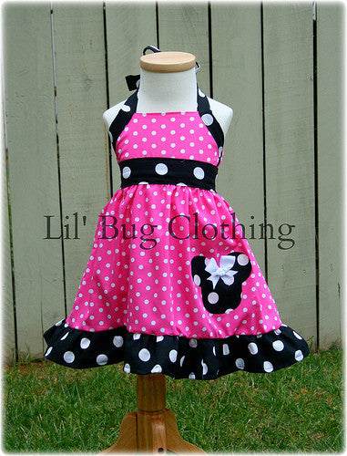 Minnie Mouse Hot Pink Black  White Dot Jumper Dress Halter Style