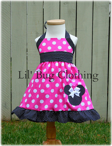 Hot Pink White Black Pin Dots Minnie Mouse Halter Dress