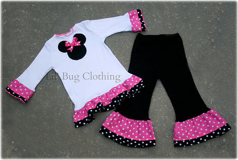 Hot Pink & Black White Polka Dot Minnie Mouse Tee & Ruffled Pant