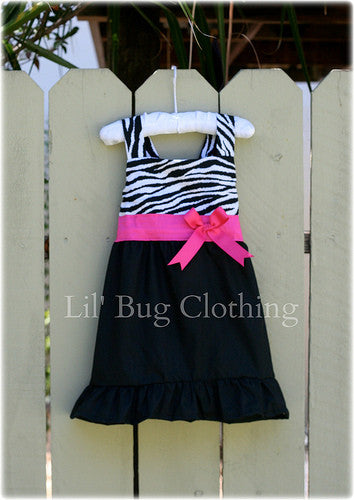 Zebra & Pink Sash Bow Jumper Dress