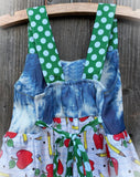 Back To School Dress Apple Print