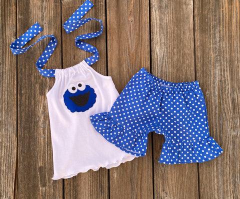 Cookie Monster Shorts & Halter Top Outfit