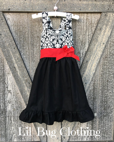 Damask Jumper Dress Red Sash Bow