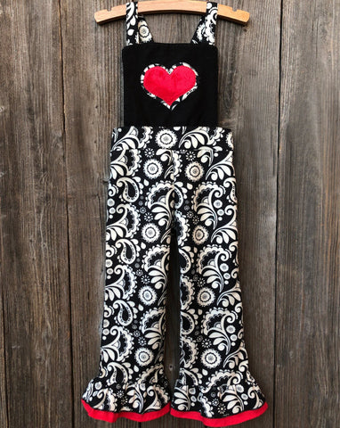 damask valentines overalls outfit