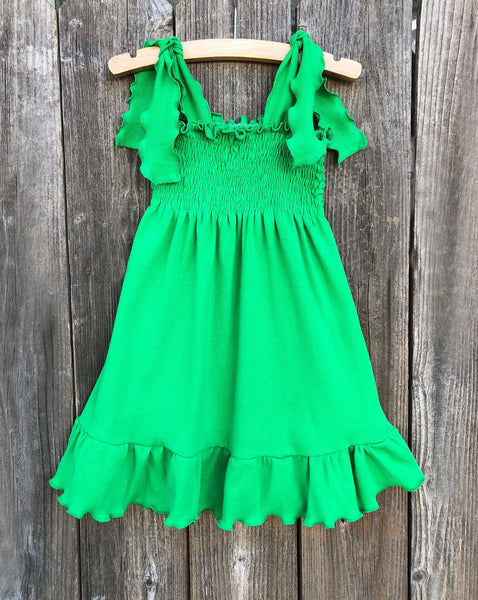 Green Smocked Girl Dress