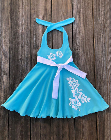 Hawaiian Aqua Girl Dress