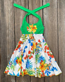 Hawaiian Luau Tropical Dress For Girls