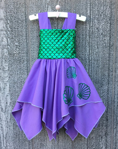 mermaid seashell girl dress