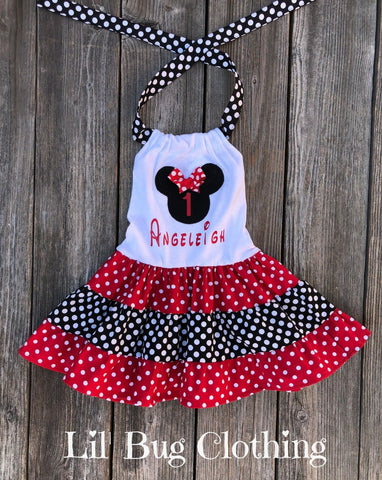 Minnie Mouse Red Black Personalize Dress