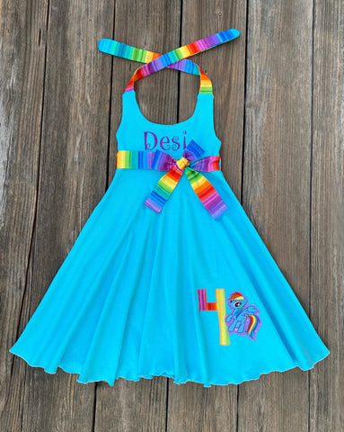 Rainbow Dasg Birthday Girl Dress