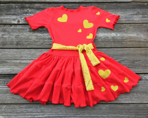 Red Gold Valentines Day Dress