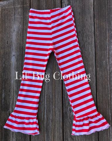 Red White Stripe Ruffled Leggings