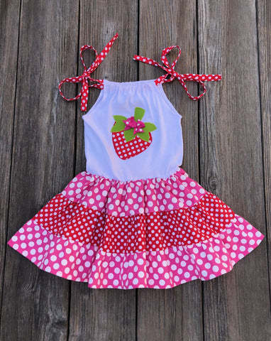 strawberry girl twirl dress
