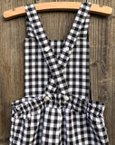 Ovdralls gingham valentines day girl