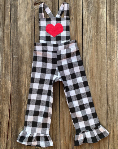 Overalls Gingham Valentines Day