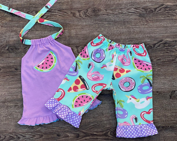 Watermelon Donut Summer Girl Outfit