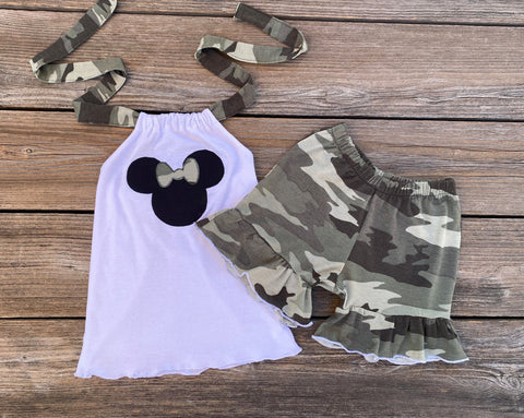 Minnie Mouse camouflage toddler girl outfit