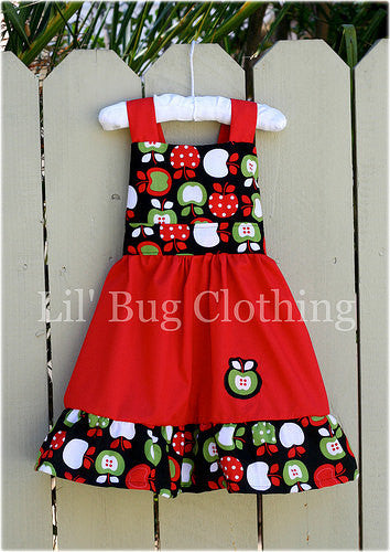 Back to school girl apple jumper dress