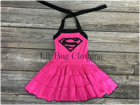 Supergirl Superhero Hot Pink Comfy Knit Tiered Dress