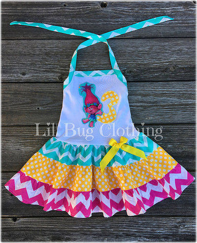 Poppy Troll Personalized Birthday Party Chevron & Dots Dress