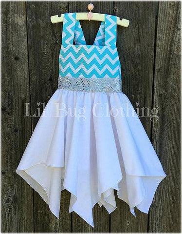 Chevron Teal Elsa Frozen Handkerchief Dress Costume